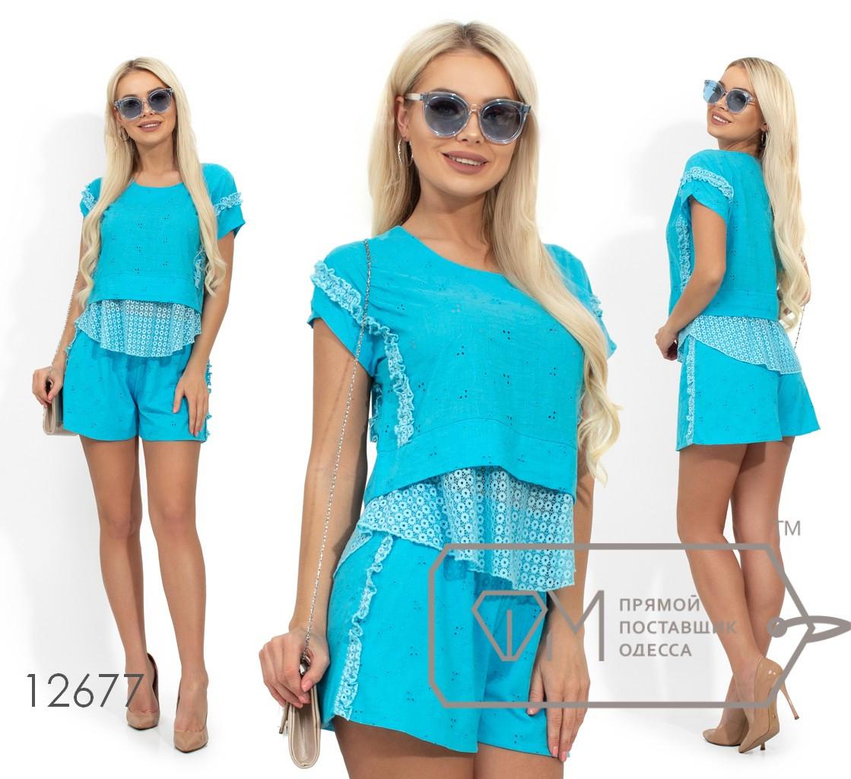 Летний комплект с вставками из органзы, блуза укороченная с круглым вырезом, шорты свободного кроя средней посадки 12677