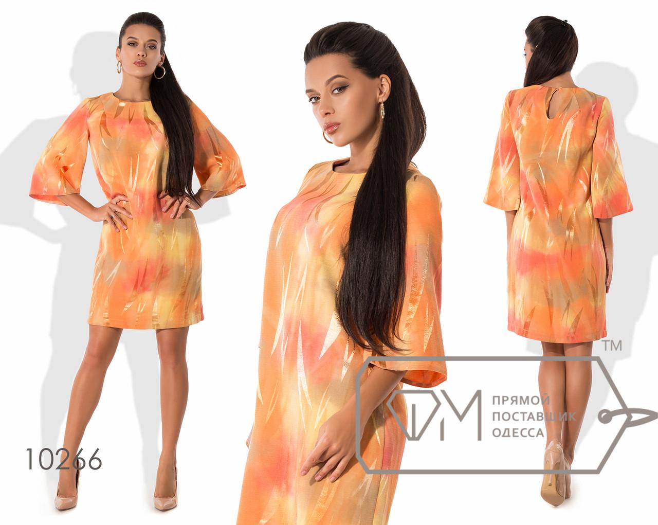 Платье-шифт мини из жаккарда без эластана с прямыми рукавами 3/4, круглым вырезом и одинарной застёжкой на спине 10266