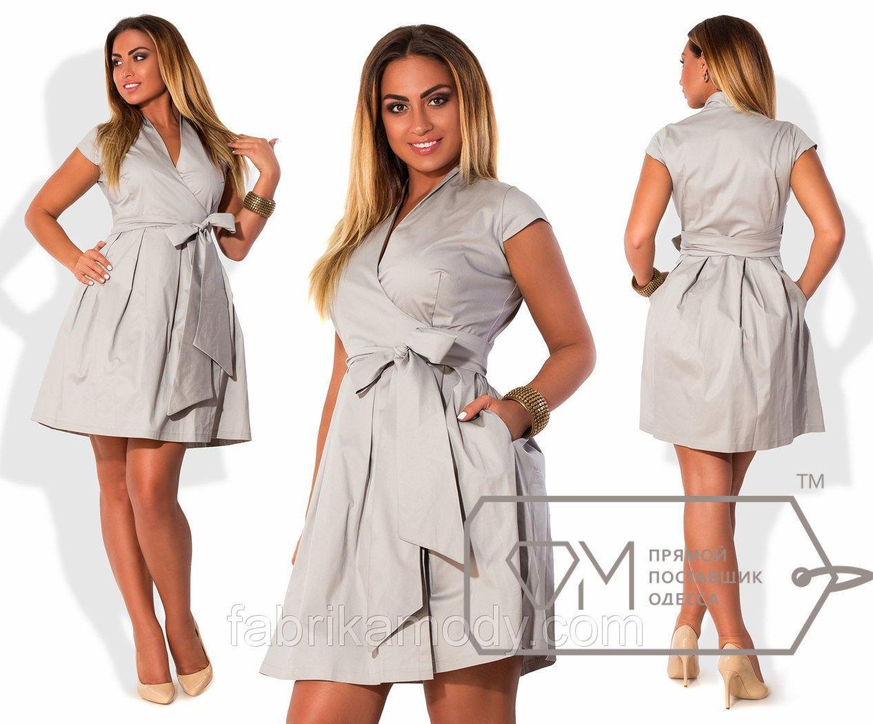 Платье ампир мини из плотного коттона с рукавами в пол-проймы, лифом на запах и пышной юбкой X4675