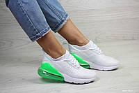 Весенние женские кроссовки Nike Air Max 270,сетка,белые с зеленым