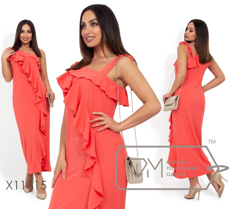 Платье-миди на одно плечо с воланом по всей длине X11015