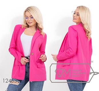 Льняной удлиненный пиджак с плечиками, без подклада 12453