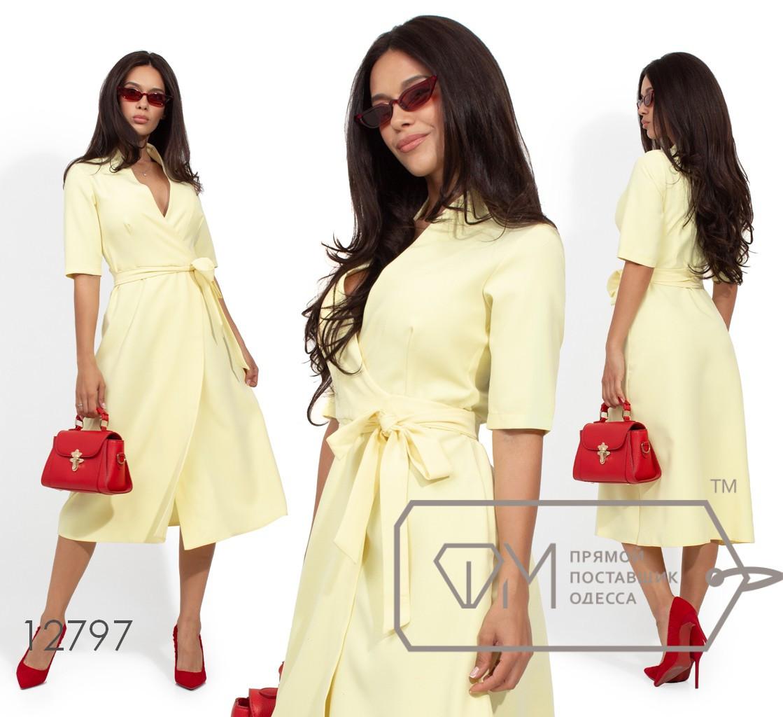 Платье-миди на запах с V-образным декольте и укороченными рукавами 12797