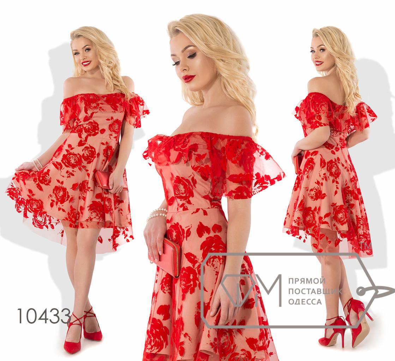 """Платье беби-долл мини из флока на сетке с основой из креп-дайвинга, глубоким вырезом """"анжелика"""" с оборкой и асимметричным подолом 10433"""