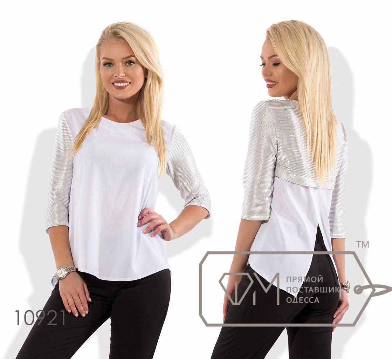 Блуза прямого кроя из софта с рукавом 3/4 из трикотажного люрекса и фигурным разрезом по спинке 10921