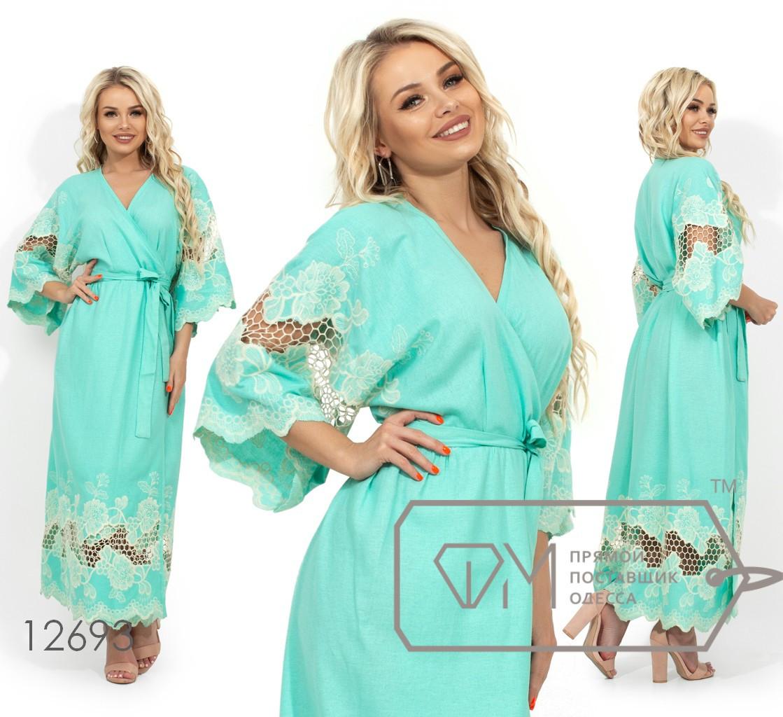 Платье на запах из натурального льна с вышивкой на рукавах-кимоно и подоле 12693