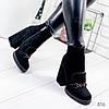 Ботильоны женские Reezz на высоком квадратном каблуке черные эко - замша )), фото 4