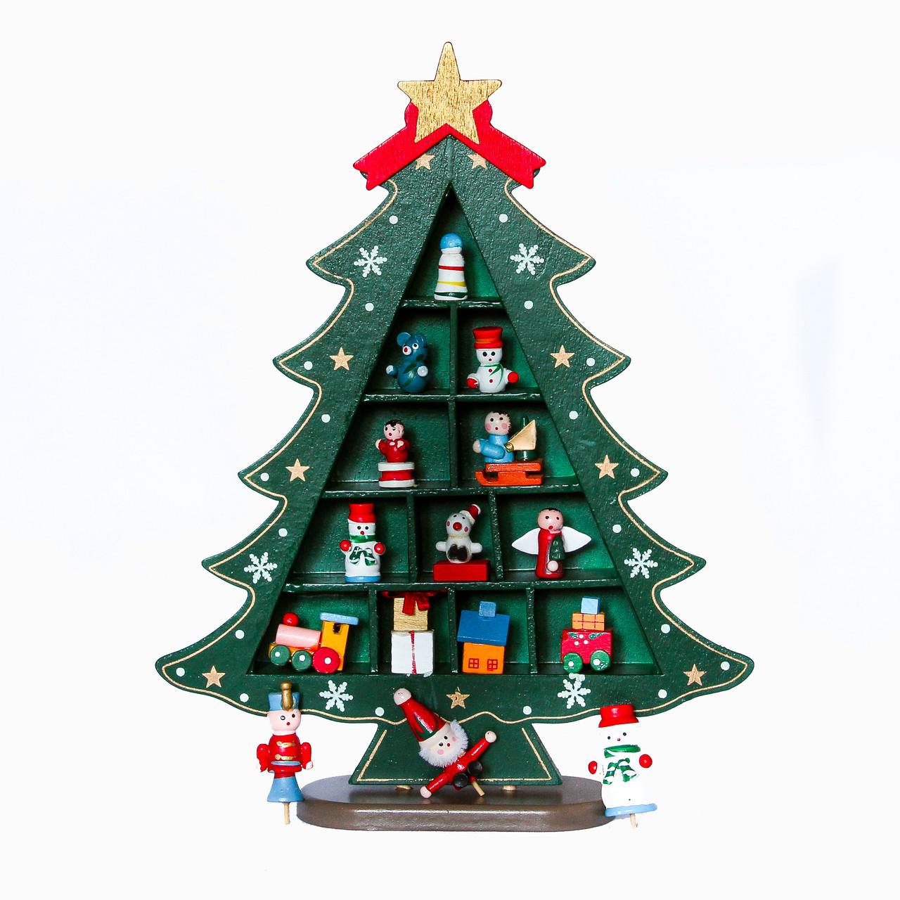 Новогодний декор на стол Елка из дерева, 28, 5 см, (060894)