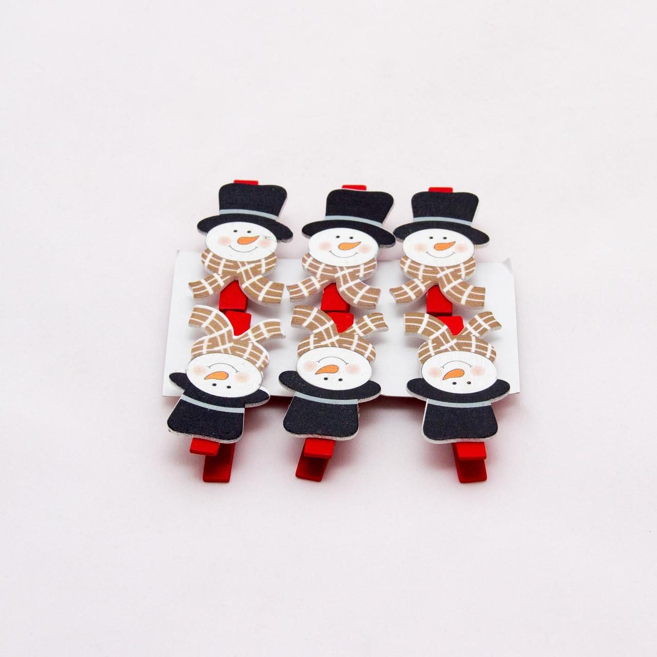 Набор елочных игрушек - прищепки Снеговики, 6 шт, 11*15 см, разноцветный, дерево (060948)