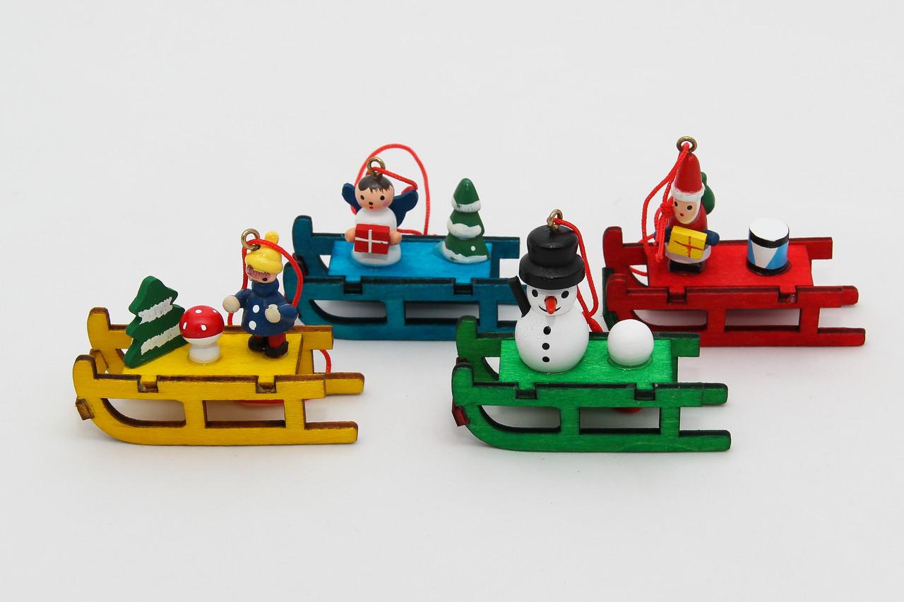 Набор новогодних игрушек - деревянные фигурки, 4 шт, 13*12 см, разноцветный, дерево (061181)