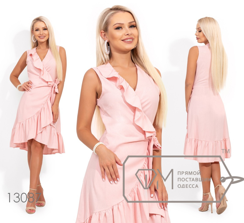 Короткое платье на запах с оборками 13087