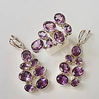 Комплект серебряных ювелирных украшений серьги и кольцо  с натуральными  аметистами