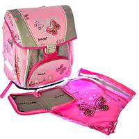"""Набор школьный - PREMIUM-B Набор: рюкзак-коробка+мешок для обуви+пенал плоский """"Butterfly""""  для девочки"""