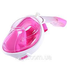 Инновационная маска для снорклинга подводного плавания Easybreath розовая, фото 2