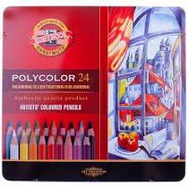 Карандаши цветные художественные 24 шт Polycolor мет короб 38244024002