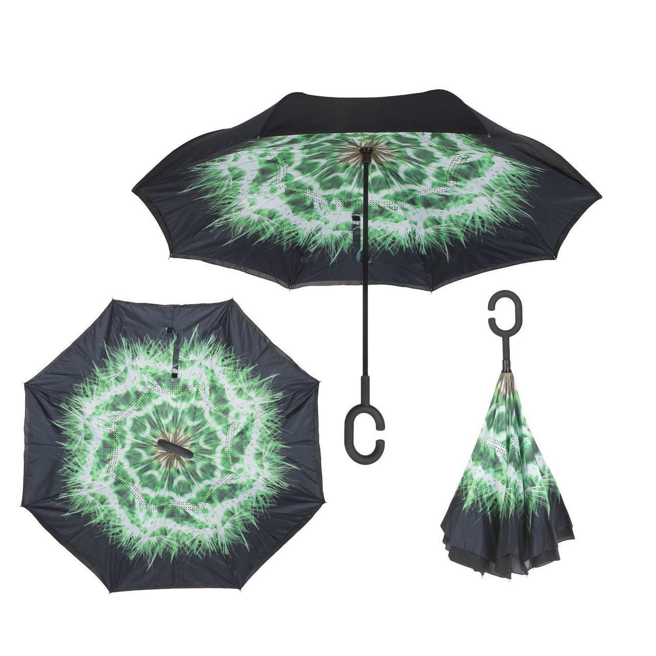Ветрозащитный зонт Up-Brella антизонт Зонт обратного сложения (Одуванчик)