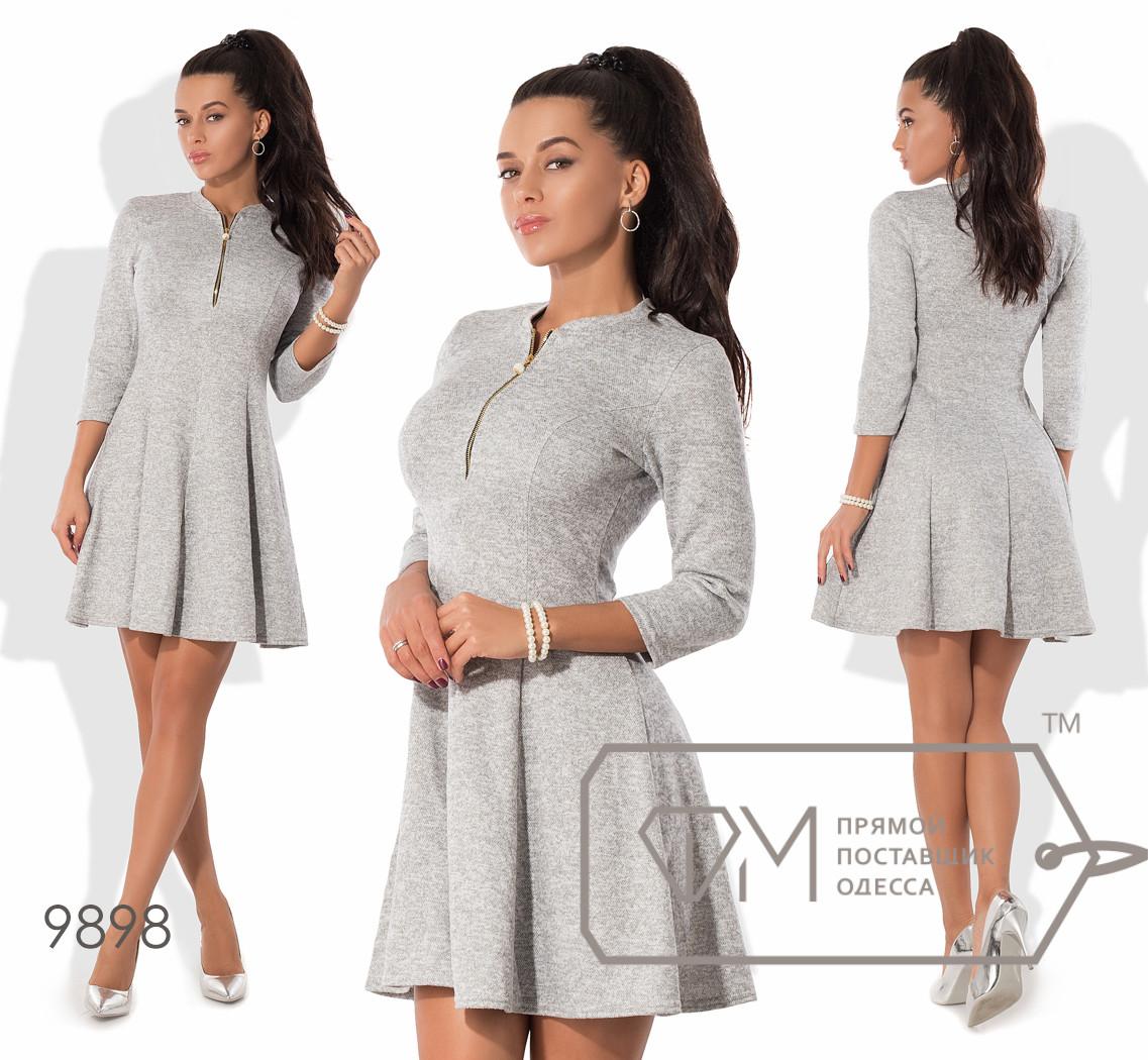 """Платье-цветок мини из ангоры софт с приталенным лифом на молнии, рукавами 3/4, воротничком """"бомбер"""" и расклешённой юбкой-солнце 9898"""