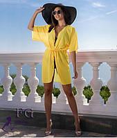 Желтая пляжная туника из шифона