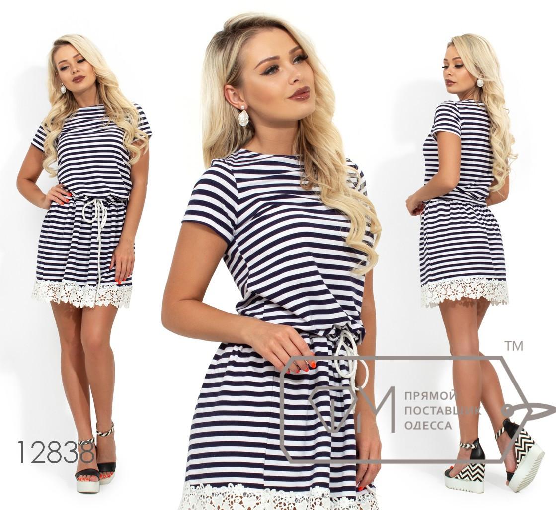 """Платье """"морячка"""" с кулиской по талии и кружевной отделкой по подолу 12838"""