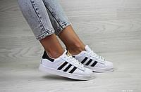 Подростковые кроссовки Adidas Superstar белые с черным