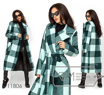 Пальто прямое на запах из кашемира с шерстью под пояс с отложным воротником на лацканах 11806