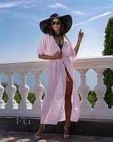 Пляжная туника из шифона бледно-розовая