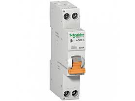 Дифференциальный автоматический выключатель АД63К 1П+Н 20A 30MA C 18мм одномодульный
