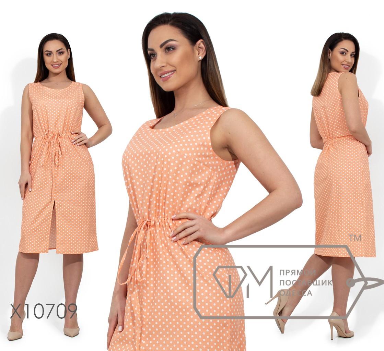 Льняное платье прямого кроя без рукавов с кулиской по талии и разрезом по лицевой стороне X10709
