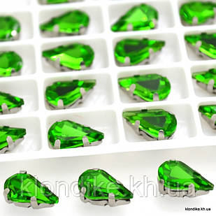 "Стразы в цапах ""Капля"", стеклянные, 6×10 мм, Цвет: Зелёный (4 шт.)"