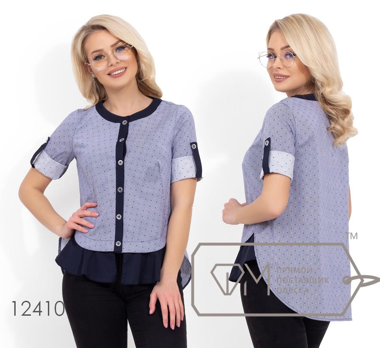 Коттоновая блуза с пуговицами по всей длине и рукавами 3/4 на патиках 12410