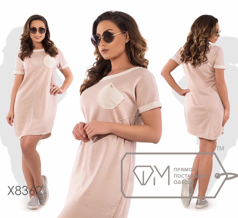 Платье-туника мини прямое из трикотажа с люрексом с косыми швами, контрастным кантом, кармашком на груди и асимметричным подолом X8362