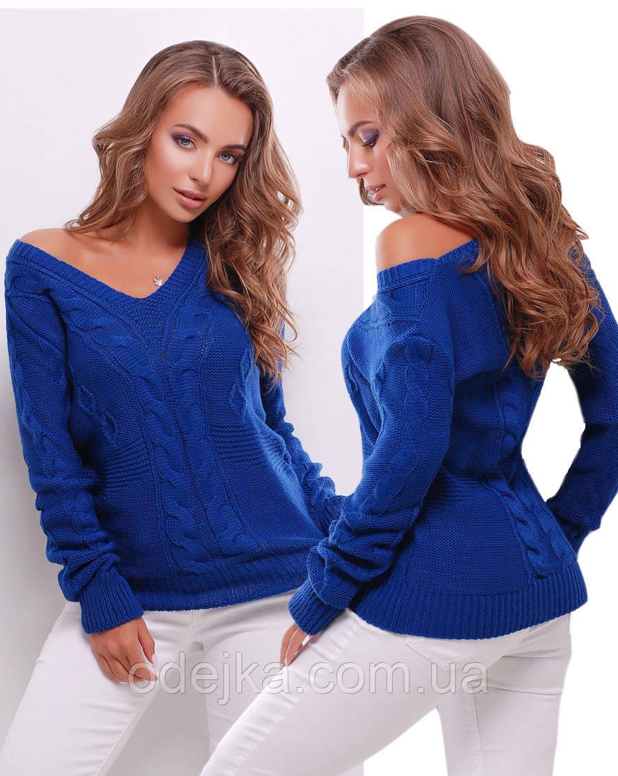 Свитер женский вязанный 130 (10 цв), женский свитер, вязаный свитер с вырезом