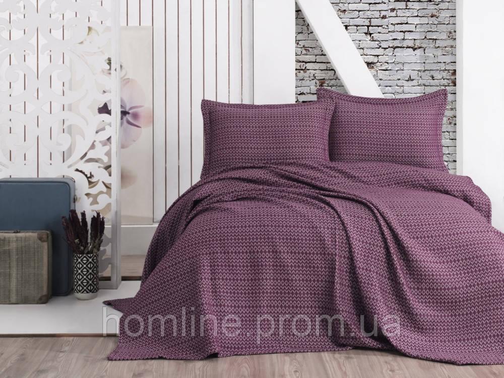Покрывало Пике с наволочками 230*240 Eponj Home Laden mor фиолетовый