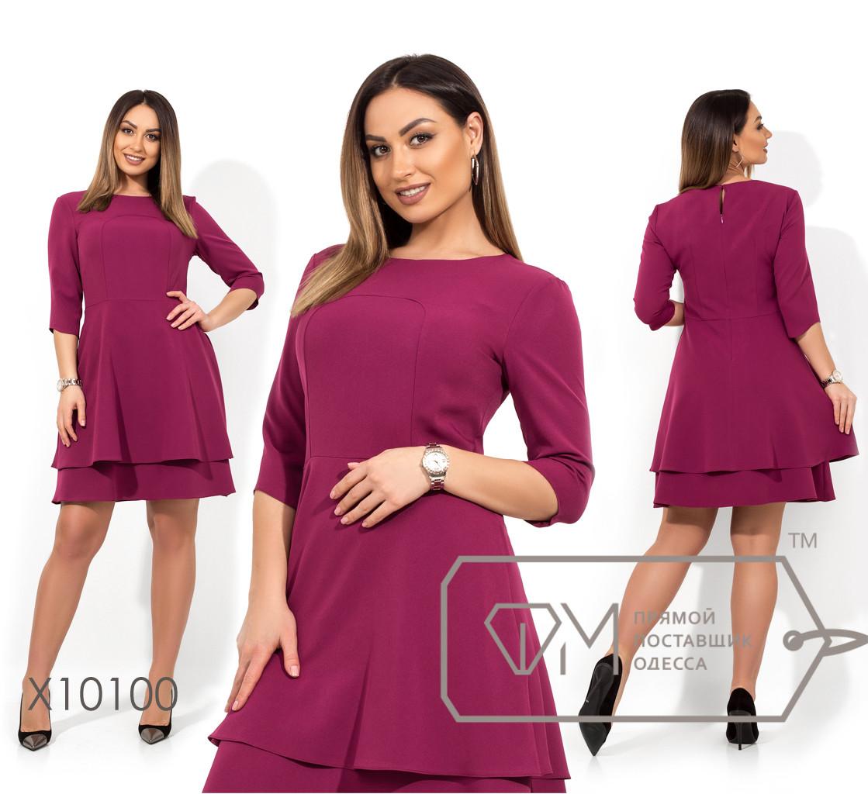 Платье-мини отрезное по талии из поливискозы с рукавами 3/4 с двухслойной юбкой на подкладе X10100