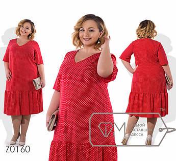 Платье миди прямое из вискозы в горошек с прямыми рукавами до локтей, V-вырезом и широкой оборкой по подолу Z0160