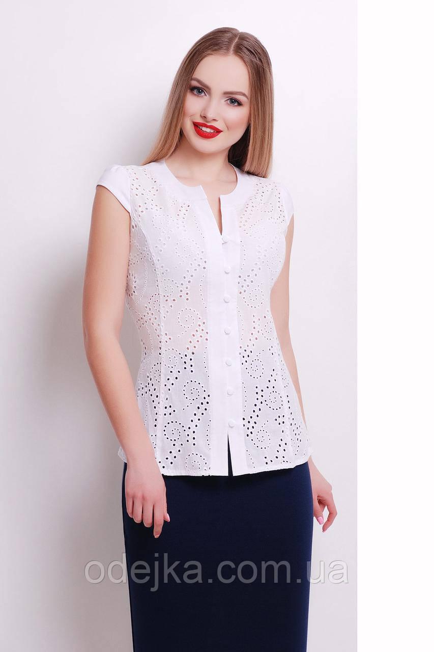 Блуза Флори к/р, белая блуза, строгая блузка