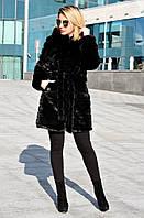 Шуба искусственная Норка СР поперечная без утеплителя черн 44, черный