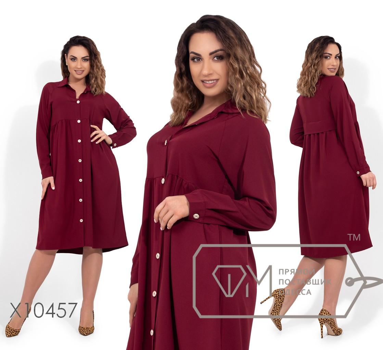 Платье-миди прямого кроя с рукавами-реглан, завышенной талией на пуговицах по всей длине X10456