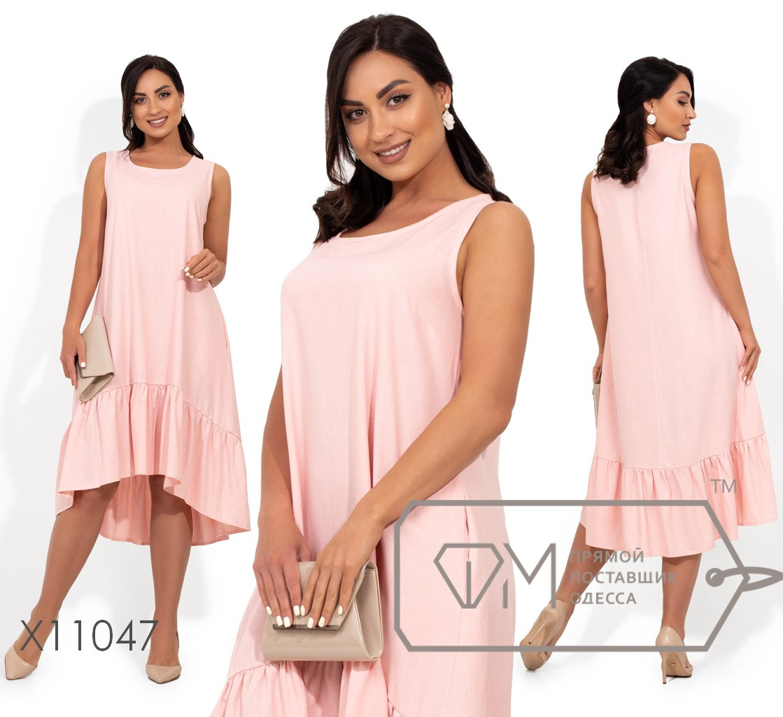 Платье-миди, покроя трапеция с оборкой на асимметричном подоле X11047