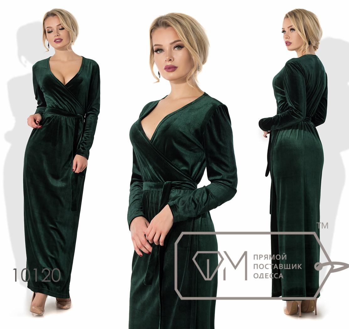 Платье в пол приталенное из бархата на запах под пояс с длинными зауженными рукавами и глубоким V-вырезом 10120