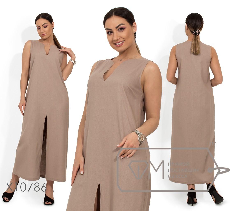 Длинное платье из льна с щелевым декольте и высоким разрезом по лицевой стороне X10786