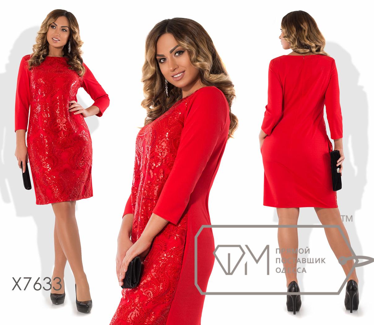 Платье-футляр миди прямое из креп-дайвинга с рукавами 3/4 и сплошным передом из однотонной вышивки на сетке X7633