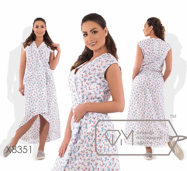 Платье-халат миди-макси А-покроя из батиста без рукавов с V-вырезом, запахом и асимметричным подолом-шлейфом X8351