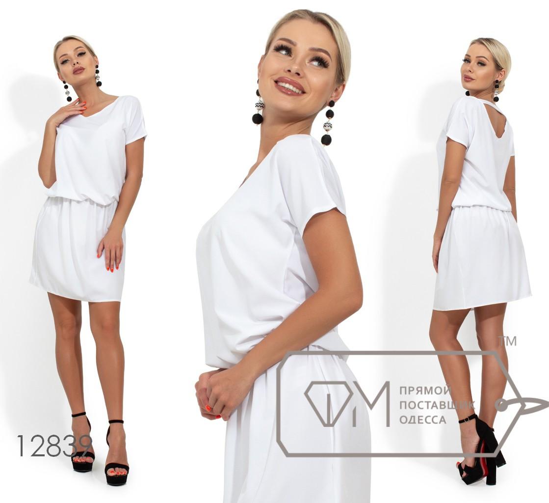 Платье с цельнокроенным верхом, резинкой по талии и V-образным вырезом по спинке 12839