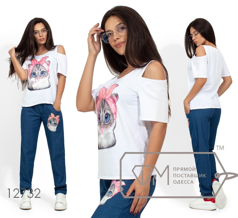 """Комплект: футболка из вискозы с разрезами на плечах и нашивкой """"кошечка"""", брюки из джинса, на резинке, зауженные к низу 12732"""