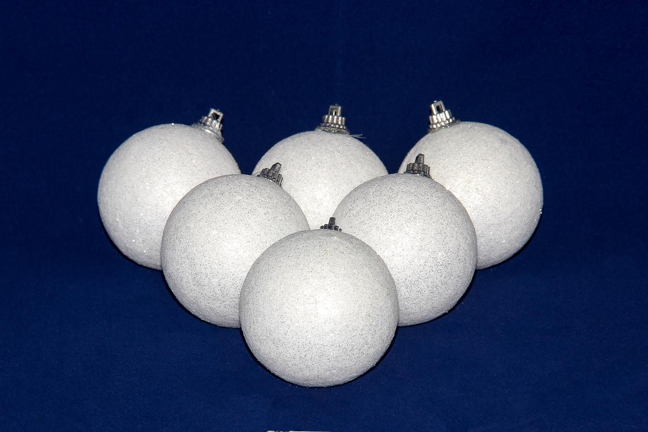 Набор елочных игрушек - пенопластовые шары с блестками, 6 шт, D6 см, белый с блестками, пенопласт (200022)
