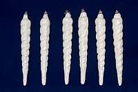 Набор елочных игрушек - сосульки с блестками, 6 шт, 10 см, белый, пенопласт (200060)