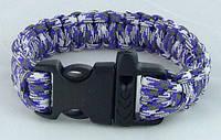 Браслет выживания 19см со свистком бело-фиолетовый