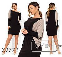 Двухцветное короткое платье-кокон из ангоры-софт с круглым вырезом и длинными рукавами X9772