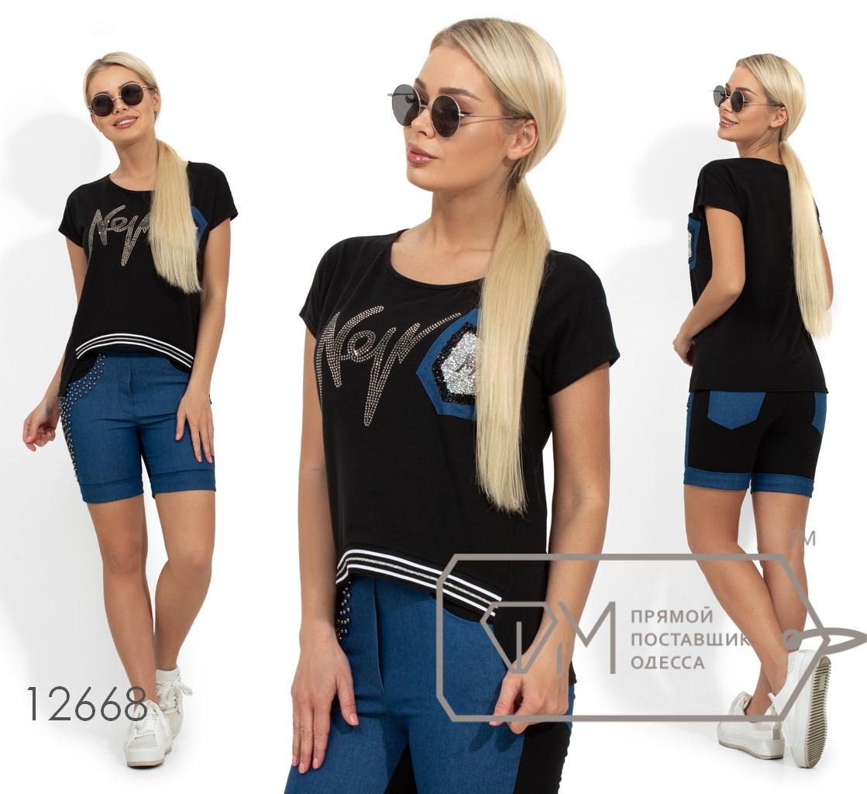 Костюм с шортами на половину из джинса, декорирован стразами и жемчужинами, кофточка с накладным карманом и отделкой из репсовой ленты 12668